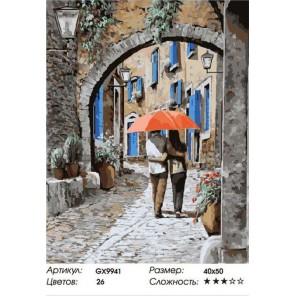 Влюбленные под зонтом Раскраска картина по номерам акриловыми красками на холсте