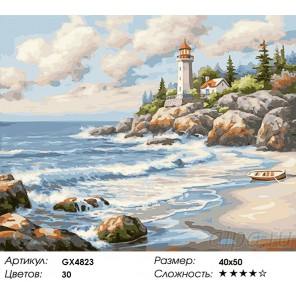 Маяк на скалах Раскраска картина по номерам акриловыми красками на холсте