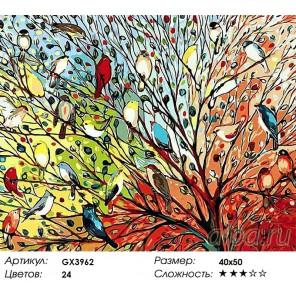 Волшебные птички Раскраска картина по номерам акриловыми красками на холсте
