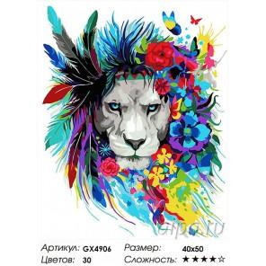 Тотем льва Раскраска картина по номерам на холсте
