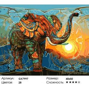 Количество цветов и сложность Тантрический слон Раскраска картина по номерам акриловыми красками на холсте