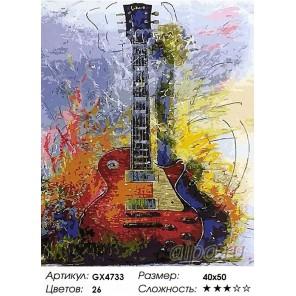 Количество цветов и сложность Звуки электрогитары Раскраска картина по номерам акриловыми красками на холсте