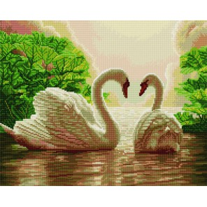 Белые лебеди Алмазная мозаика вышивка на подрамнике Molly