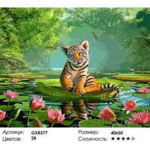 Количество цветов и сложность Тигренок с цветущими лотосами Раскраска картина по номерам акриловыми красками на холсте