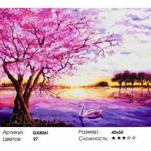 Сакура на закате Раскраска картина по номерам на холсте