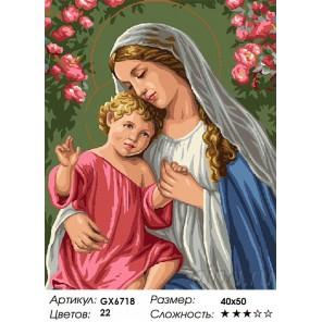 Количество цветов и сложность Пресвятая богородица с младенцем Раскраска картина по номерам акриловыми красками на холсте