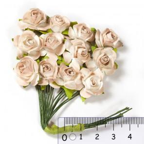 Розы чайные бежевые  HY00100185010-11 Цветы бумажные Украшение для скрапбукинга, кардмейкинга Scrapberry's