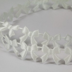Белые бантики Лента декоративная для скрапбукинга, кардмейкинга