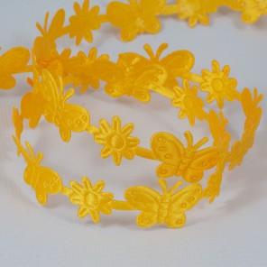 Желтые  бабочки и цветы Лента декоративная для скрапбукинга, кардмейкинга