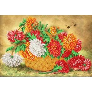 Пушистые хризантемы Набор для частичной вышивки бисером Паутинка