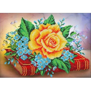 Роза и незабудки Набор для частичной вышивки бисером Паутинка