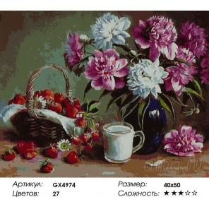 Количество цветов и сложность Пионы и клубника Раскраска картина по номерам акриловыми красками на холсте