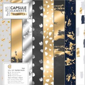 Elements Metallics Набор бумаги 30,5х30,5см  для скрапбукинга, кардмейкинга Docrafts