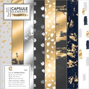 Elements Metallics Набор бумаги 15х15см  для скрапбукинга, кардмейкинга Docrafts