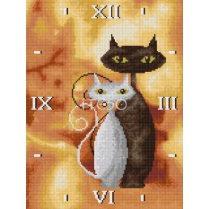 Влюбленные коты Часы Алмазные на подрамнике с полной выкладкой Iteso