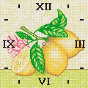 Гроздь лимонов Часы Алмазные на подрамнике с полной выкладкой Iteso