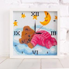 Мишка на облаке Часы Алмазные на подрамнике с полной выкладкой Iteso