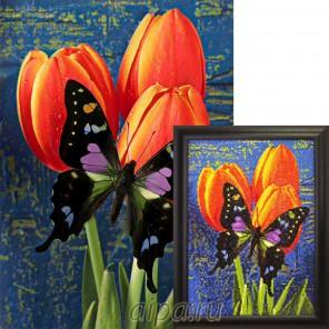 Бабочка на тюльпанах Алмазная вышивка мозаика Гранни
