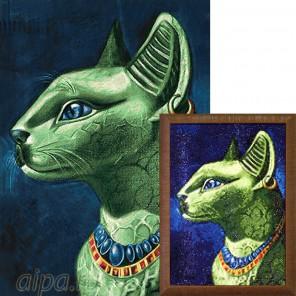 Изумрудная кошка Алмазная вышивка мозаика Гранни