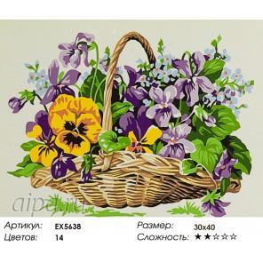 Количество цветов и сложность Цветы в корзине Раскраска картина по номерам акриловыми красками на холсте