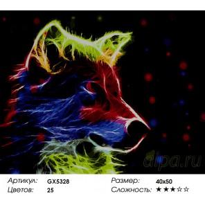 Количество цветов и сложность Неоновая собака Раскраска картина по номерам акриловыми красками на холсте