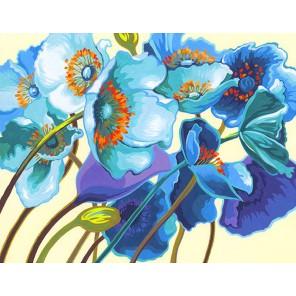 Голубые маки Раскраска картина по номерам акриловыми красками Dimensions