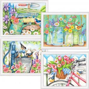 Садовые цветы Набор раскрасок по номерам цветными карандашами Dimensions