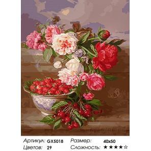 Количество цветов и сложность Грозди ягод и розы Раскраска картина по номерам акриловыми красками на холсте