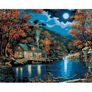 Хижина в лунном свете Раскраска картина по номерам акриловыми красками Plaid