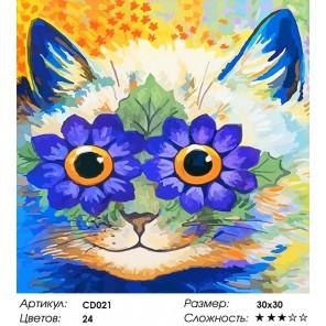 Количество цветов и сложность Цветочный кот Раскраска картина по номерам акриловыми красками на холсте Color Kit
