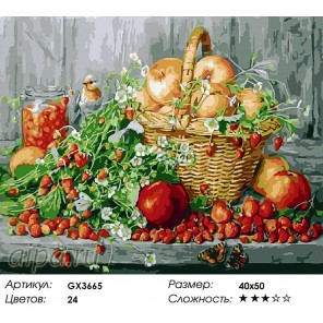 Количество цветов и сложность Сладкие дары лета Раскраска картина по номерам акриловыми красками на холсте