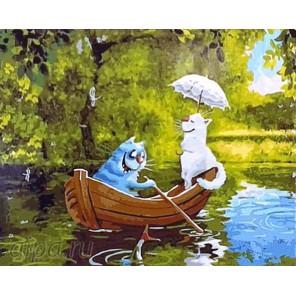Количество цветов и сложность Романтичный синий кот Раскраска картина по номерам акриловыми красками на холсте