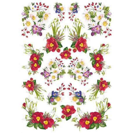 Зимние цветы PAU 40 Рисовая декупажная карта Calambour