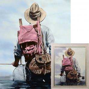 Рыбак Алмазная вышивка мозаика Гранни с примером готовой работы в рамке