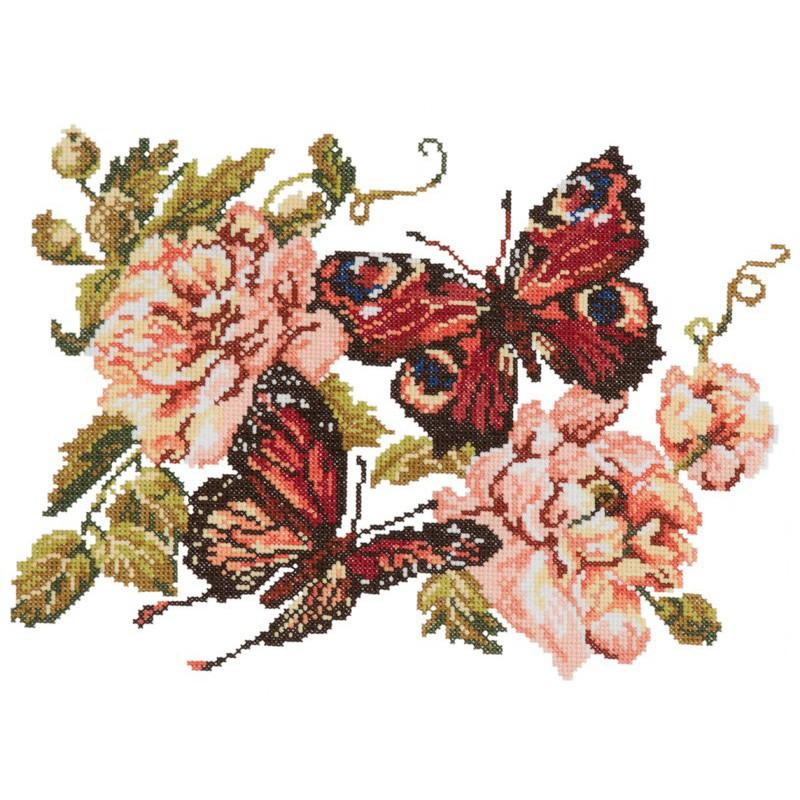 Бабочки на пионах вышивка