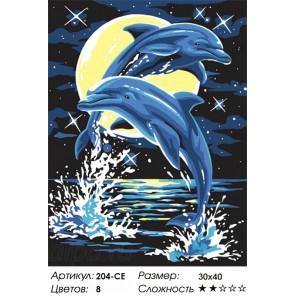 Сложность и количество цветов Дельфины Раскраска картина по номерам акриловыми красками на холсте Белоснежка
