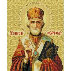 Николай Чудотворец Алмазная вышивка мозаика на подрамнике Белоснежка