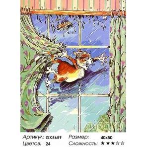 Количество цветов и сложность Веселый котик Раскраска картина по номерам акриловыми красками на холсте