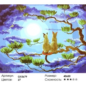 Количество цветов и сложность Лунная романтика Раскраска картина по номерам акриловыми красками на холсте