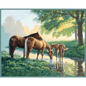 Лошади у ручья Раскраска (картина) по номерам акриловыми красками Dimensions