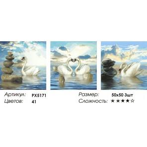 Количество цветов и сложность Триптих Лебеди Раскраска картина по номерам акриловыми красками на холсте