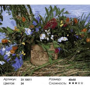 Полевые цветы в лукошке Раскраска картина по номерам на холсте