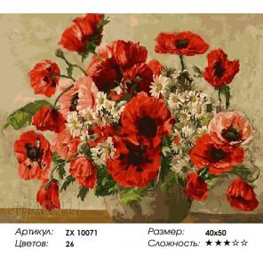 Букет с красными маками  Раскраска картина по номерам акриловыми красками на холсте