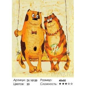 Рыжие коты Раскраска картина по номерам на холсте