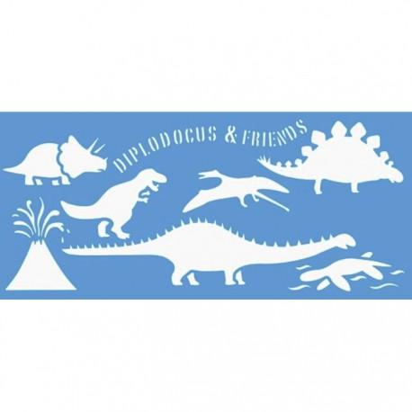 Динозавры Трафарет 15х33 см Marabu