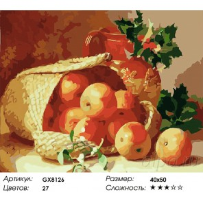 Натюрморт с яблоками Раскраска картина по номерам на холсте