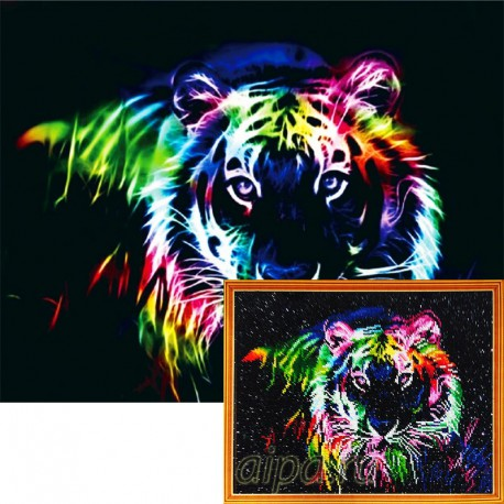 Фрактальный тигр Алмазная мозаика на подрамнике Цветной