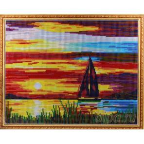 Парусник на закате Алмазная мозаика на подрамнике Цветной