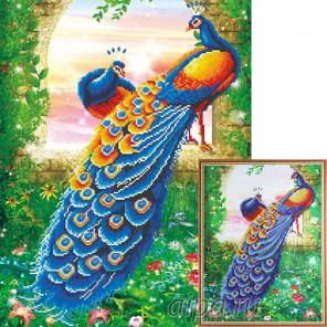 Два павлина Алмазная мозаика на подрамнике Цветной