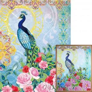 Павлин в цветах Алмазная мозаика на подрамнике Цветной